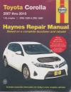 Toyota Corolla  2007-2015 haynes Service Repair Manual